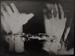 Sybil's hands-10983 (Poetic Medium) Tags: ipod kitcamghostbird hipstamatic snapseed mannequin stilllife multipleexposure mextures hands handcuffs diptych moldiv