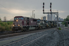 A&O at AT&O (ajketh) Tags: ns norfolk southern freight train railroad emd sd90mac charlotte uptown skyline storm silhouette 7335 154 ato oline piedmont division signals clouds acw railway aberdeen carolina western