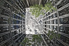 Looking up... (T.Seifer) Tags: architecture architektur outdoor building travel einfarbig europe fisheye germany gebäude perspektive clouds hamburg office photography reflection weitwinkel citynord walimex