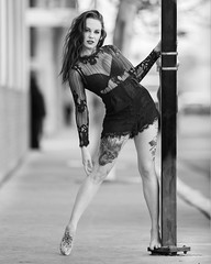 Alyssa Beth downtown (Mitch Tillison Photography) Tags: beautiful stunning gorgeous dramatic female model pose posing best different urban boudoir tattoo tattooed beauty edgy black white bw mono albuquerque newmexico talent street city photoshoot photo photography mitchtillison nikon d810 nikkor 300mm