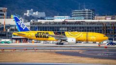 """All Nippon Airways (ANA) Boeing 777-200ER """"StarWars C3-PO"""" (JA743A) Osaka Int'l (Itami) Airport (RJOO / ITM) Pushback (Bag1024) Tags: all nippon airways ana boeing 777200er starwars c3po ja743a osaka intl itami airport rjoo itm pushback"""