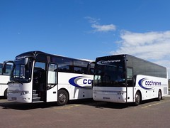 A Couple of Cochranes Coaches (j.a.sanderson) Tags: peterlee transport blackpool berghof t911 alicron vanhool coaches coach cochrane cochranes