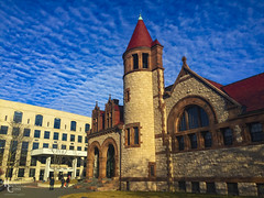 Wild Skies and Richardsonian Romanesque (RobertCross1 (off and on)) Tags: boston cambridge cambridgepubliclibrary ma massachusetts newengland richardsonianromanesque romanesque architecture bluesky building clouds goldenhour iphone iphone6 iphoneography landscape library morning school winter