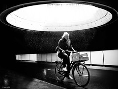 Shit happens (René Mollet) Tags: shit happens bicycle bike rain underground atlantis woman blackandwhite urban street streetphotography renémollet