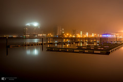 Mist at Cardiff bay (technodean2000) Tags: cardiff bay st davids spa and hotel nikon d5100 18 105 lens south wales night skyline waterfront water river landscape d610