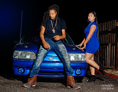 Blue Ford Mustang (Renaldo Creative Photography) Tags: car ford mustang blue asian sexy model night dark vehicle curvy booty bluedress man dreads african american
