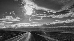 what's better than a life on the road (lunaryuna) Tags: iceland travel journey roundtrip ontheroad road sky weather lightmood cloudscape landscape mountainrange blackwhite bw monochrome