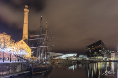 Silent Night (Tim van Zundert) Tags: hdr highdynamicrange salthousequay albertdock liverpool merseyside northwestengland sailboat boat ship pumphouse water reflection city chimney tower night evening longexposure sony a7r voigtlander 21mm ultron