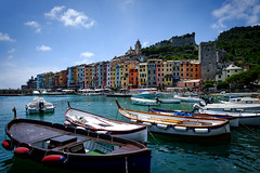 Harborside (Stephan Harmes) Tags: harbor sea water sky blue building architecture boat boats cinque terre liguria italy unesco