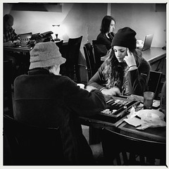 go fish (Chris Blakeley) Tags: seattle hipstamatic candid cafe bnw bw backgammon streetphotography