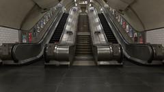 Escalator (Sam Codrington) Tags: tubestation escalator staircase stpauls canon5d thecityoflondon undergroundstation steps london canon5dmarkiii tube architecture transportforlondon centralline wayout places underground england unitedkingdom gb symmetrical