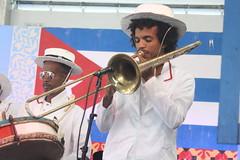 Conga Los Hoyos (2017) 07 (KM's Live Music shots) Tags: worldmusic cuba congasantiaguera congaloshoyos trombone neworleansjazzheritagefestival culturalexchangepavilion fairgroundsracecourseneworleans