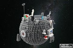 Spaceport Sphaera-Petram Iota #2 (Casey M.) Tags: plantary lego space planetoid pandemonium casey pew swoosh swooshlug planet bruce lowell spaceport sphaera petram iota microscale spaceship dock port