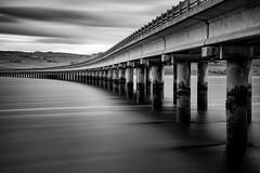 Bridging the Gap (fred@fredadams-photography.com) Tags: highlands may2017 scotland bridge concrete fields landscape loch longexposure monochromatic monochrome pattern pillars repetition water