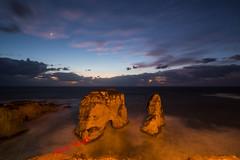 Raouche At Night, Lebanon (Paul Saad) Tags: raouche lebanon beirut longexposure pigeonsrock nikon night sea storm clouds beach rocks sunset sunrise dusk dawn waves