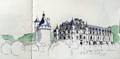 Chenonceau (m.JaKar) Tags: aquarelle croquis carnetdevoyage dessinurbain france insitu sketchcrawl usk rencontrenationale urbansketchers château