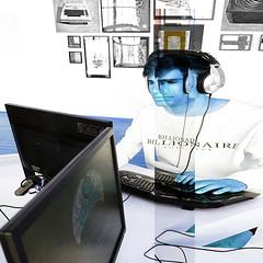 playing the game (j.p.yef) Tags: peterfey jpyef yef computer man young playing game digitalart simon photomanipulation