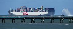OOCL, zur Zeit größtes Containerschiff am Jade-Weser-Port, Jadebusen, Wilhelmshaven (antje whv) Tags: wilhelmshaven jadebusen nordsee northsea schiffe vessels oocl gröstescontainerschiff jadeweserport