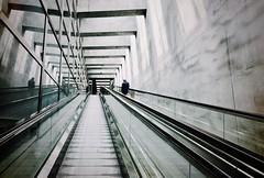 Travelling. Far far away. (sofjet) Tags: people minimalism architecture skandinavien scandinavia sverige schweden sweden malmöc malmö trainstation travel monochrome composition city urban