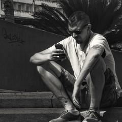Concentration... (zapperthesnapper) Tags: streetscene street streetlife malaga spain espana blackandwhite monochrome mono sonyrx100 sony sonycybershot sonyimages man