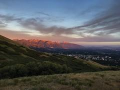 Salt Lake City, Utah at dusk from the Bonneville Shoreline Trail