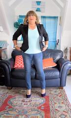Jeans (Trixy Deans) Tags: crossdresser cd cute crossdressing leather trousers tightjeans jacket jeans xdresser sexy sexytransvestite sexyheels sexylegs tgirl tv transvestite tranny shemale shemales
