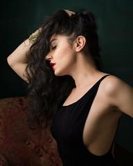 Araina (Bruce M Walker) Tags: lowkey woman longhair bodysuit profile redlipstick sideboob devinefemale