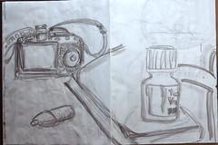 sehen Sie, wir werden die Welt erobern für alle Zeiten (raumoberbayern) Tags: zeichnung skizzenbuch sketch robbbilder sketchbook france frankreich kamera ink camera vacation urlaub