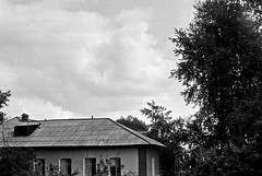 96070001 (sabpost) Tags: retro vintage scan film bw ussr ссср пленка сканирование скан негатив россия ретро old rare scans russia russian found photo siberia сибирь soviet house sky