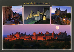 postcard - Carcassonne 4 (Jassy-50) Tags: postcard carcassonne france unescoworldheritagesite unescoworldheritage unesco worldheritagesite worldheritage whs multiview sunset night moon