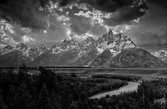 Snake River Overlook - Explore (Marvin Bredel) Tags: anseladams blackandwhite bw marvinbredel explore wyoming jackson jacksonhole grandtetonnationalpark snakeriveroverlook river mountains tetons clouds dramatic