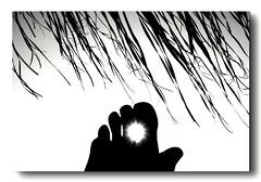 Summer's romantic sense (kallchar) Tags: love sunset sunrays sense romantic feet fingers beach sea ombrella relaxing artistic flickr olympus olympusomdem10 summer monochrome blackandwhite morewhite