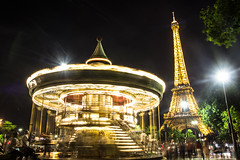 An evening by the Eiffel Tower (Photography by Mike Elias) Tags: paris parisatnight france europe night travel travelphotography canon t2i motion eiffletower carousel city cityoflights europa