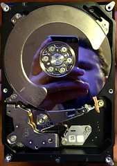Self-Portrait in Data (Poochie, a Dog on the Internet) Tags: disassembled dismantled selfportrait harddrive reflection mirror technology