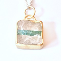 Tourmaline in Quartz 18k and silver