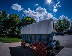 Where I parked my Limo? (Resad Adrian) Tags: limo car blue sky sunny summer day cart buggy kitchen kettle amish land lancaster