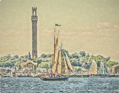 Sails of Provincetown (CapeCawder) Tags: photoart capecod topazimpression digitalphotoart capecawder schoonerhindu bayladyii topazsoftware sailing ononeperfecteffects provincetown