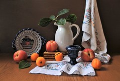 Flashing July (Esther Spektor - Thanks for 12+millions views..) Tags: stilllife naturemorte bodegon naturezamorta stilleben naturamorta composition creativephotography artisticphoto arrangement summer july tabletop food fruit peach apricot pitcher leaf bowl cup stand towel ceramics linen embroidery pattern wooden availablelight whiter orange green blue red cobalt brown estherspektor canon