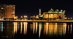 Grand Mosque, Bahrain (Clicks by Mike) Tags: color cityscape lights night reflection water building manama juffair bahrain mosque travel nikon d7100