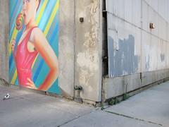 Fehlgeprägter Vogel / Maladaptive Bird (bartholmy) Tags: detroit mi michigan wandbild mural wellblech corrugatediron übermalung overpainting buffed buffing ecke corner taube pidgeon mädchen girl lutscher lolly bröckelputz crumblingplaster rohr pipe unkraut weeds streetart fassadenmalerei kunstimöffentlichenraum ruinenverschörung sprucinguptheruins lollypop lollipop