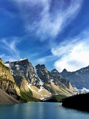 All clear - iPhone (Jim Nix / Nomadic Pursuits) Tags: iphone snapseed travel alberta canada banff morainelake clouds mountains sunset