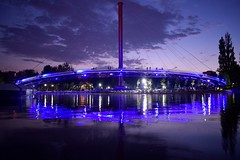 Cityscape (fdlscrmn) Tags: city downtown lights night reflection people bridge colours colorful streetart pond couple contrast clouds sky lines curves bucharest