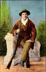 """""""Calamity Jane, Notorious Frontier Character, Gen. Crook's Scout."""" Postcard 26 in Series Published by Curteich-Chicago, (ca. 1940's) (lhboudreau) Tags: hat cowboyhat colorized handcolored oldwest jane calamityjane maleattire gun equalizer rifle 1875 marthajanecanary marthajanecannary frontierswoman americanfrontierswoman professionalscout americanwest western westerns legend legendary postcard postcards vintagepostcard vintagepostcards frontiercharacter scout frontierwoman posed colorful"""