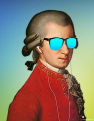 Modern Mozart with sunglasses 2 (cygenta) Tags: wolfgang amadeus mozart opera hawkers airpods earpods iphone ipod apple gradient degradado fondo wallpaper color neon