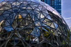 Biosphere Evening (zenseas) Tags: biosphere dome amazon geodesic seattle washington urban city downtown pacificnorthwest cityscape color glass modern building cbd reflections reflected
