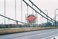 Grain Belt Sign (vdezutti) Tags: 35mm film minneapolis minnesota color twin cities city midwest bridge belt beer neon sign winter grain mississippi river hennepin northeast downtown stone arch vivitar v335