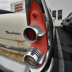 Embrace the Patina (RZ68) Tags: 1956 dodge car classic vintage old pink black white custom royal 50s uniroyal sign street road parked wide angle fisheye close up lg g6 camera phone smart rusty