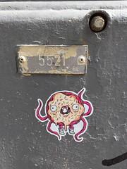 Donut Monster (svennevenn) Tags: stickers barnslig bergen gatekunst streetart smultringer donuts monsters