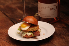 """Corner 103 """"Everything is Better with Bacon"""" dinner (sarahstierch) Tags: sonomavalley suited figcaters corner103 event sonomacounty winecountry party dinner catering quailegg egg sandwich slider tomato friedgreentomato sparklingwine rose rosé wine"""
