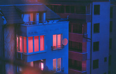 inferno (Coughh_Syrup) Tags: inferno city town night urban building architecture neon window light color contrast blue red lonely vibe